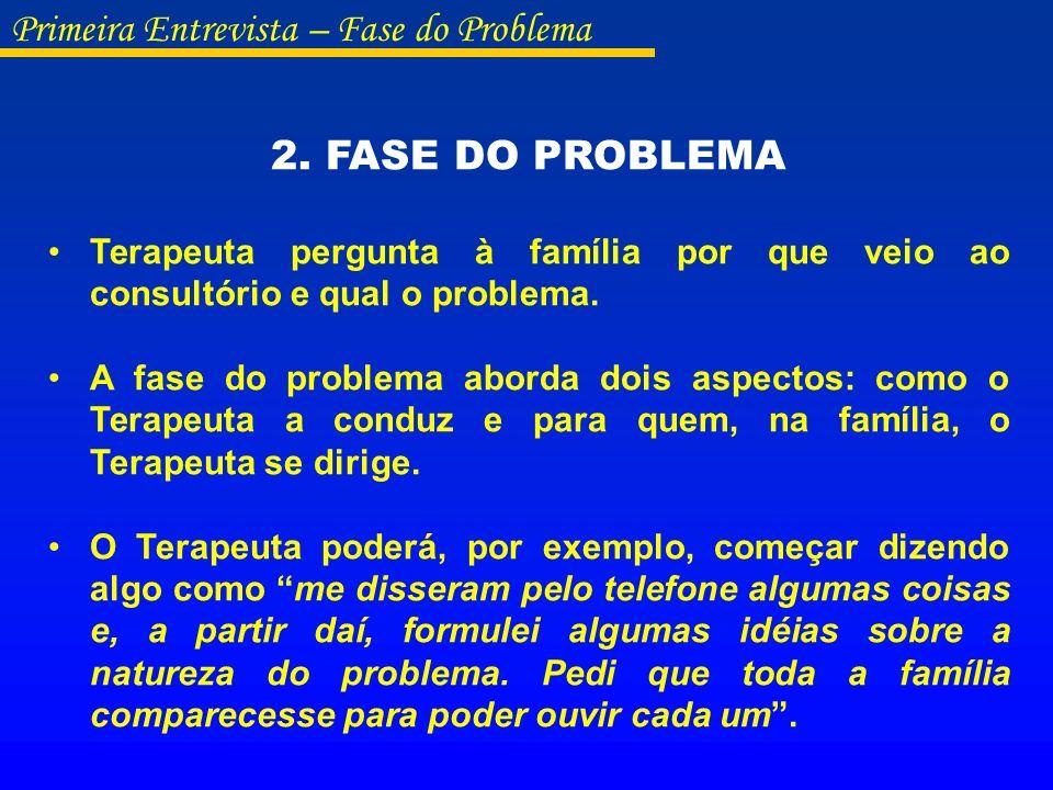2. FASE DO PROBLEMA Terapeuta pergunta à família por que veio ao consultório e qual o problema. A fase do problema aborda dois aspectos: como o Terape