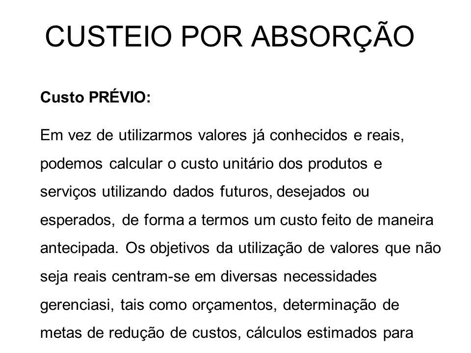 CUSTEIO POR ABSORÇÃO Custo PRÉVIO: Em vez de utilizarmos valores já conhecidos e reais, podemos calcular o custo unitário dos produtos e serviços util