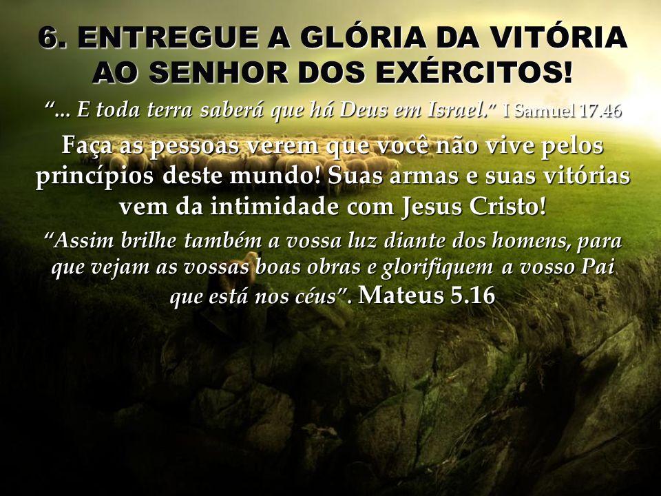 6. ENTREGUE A GLÓRIA DA VITÓRIA AO SENHOR DOS EXÉRCITOS!... E toda terra saberá que há Deus em Israel. I Samuel 17.46 Faça as pessoas verem que você n