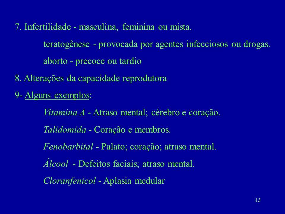13 7. Infertilidade - masculina, feminina ou mista. teratogênese - provocada por agentes infecciosos ou drogas. aborto - precoce ou tardio 8. Alteraçõ