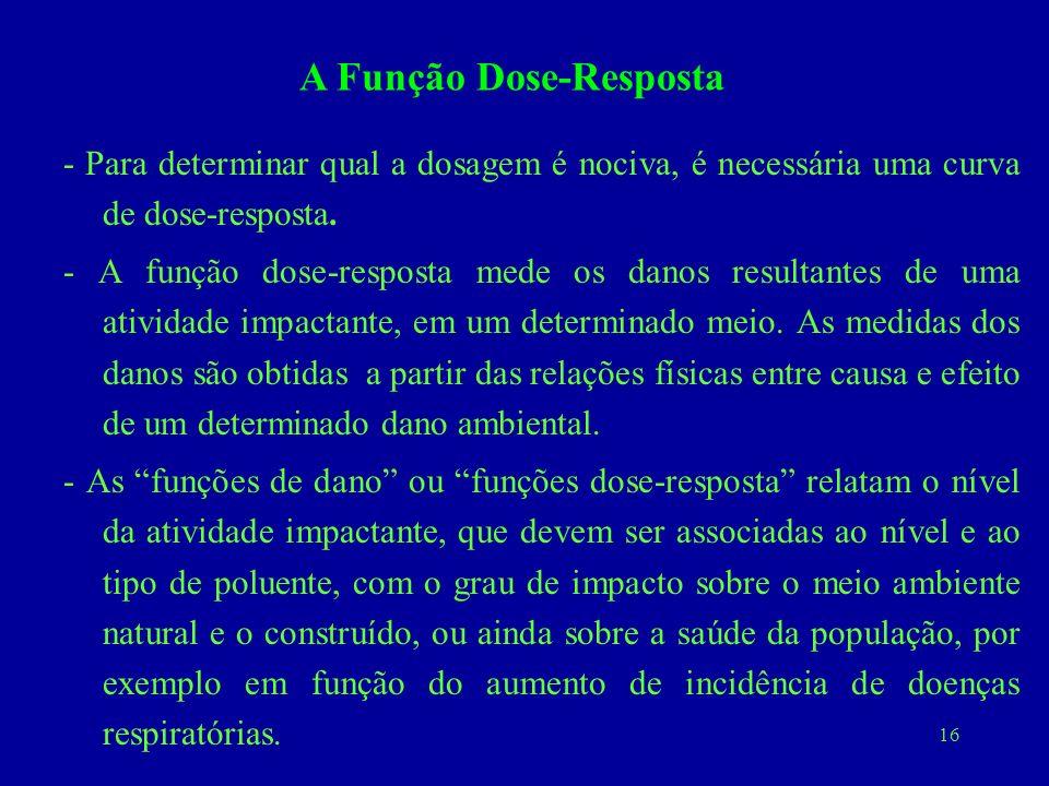 16 - Para determinar qual a dosagem é nociva, é necessária uma curva de dose-resposta. - A função dose-resposta mede os danos resultantes de uma ativi