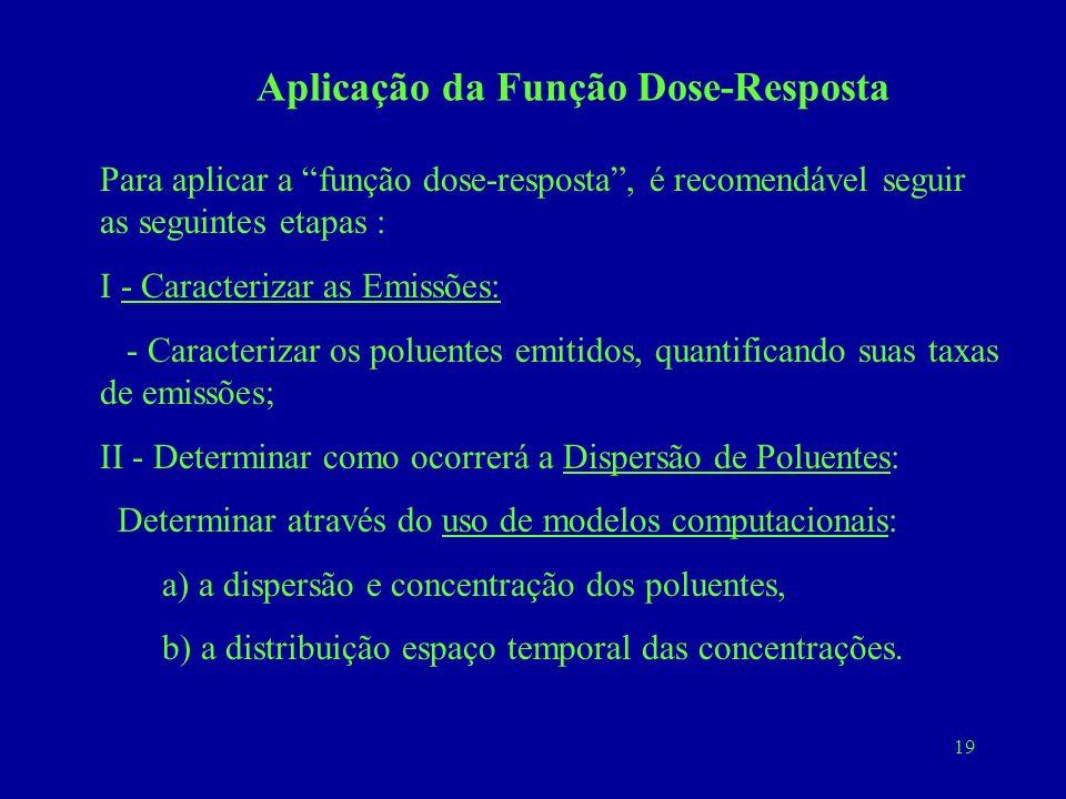 19 Aplicação da Função Dose-Resposta Para aplicar a função dose-resposta, é recomendável seguir as seguintes etapas : I - Caracterizar as Emissões: -