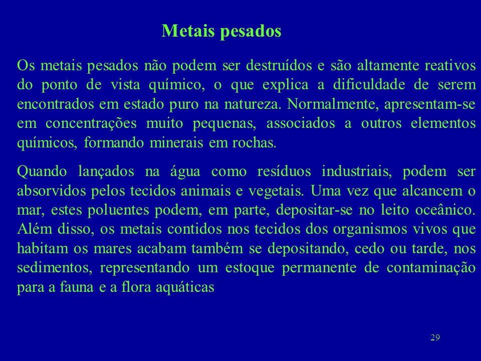 29 Metais pesados Os metais pesados não podem ser destruídos e são altamente reativos do ponto de vista químico, o que explica a dificuldade de serem