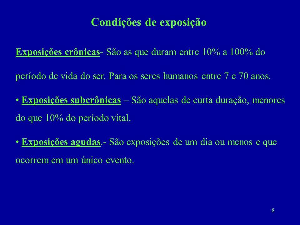 8 Condições de exposição Exposições crônicas- São as que duram entre 10% a 100% do período de vida do ser. Para os seres humanos entre 7 e 70 anos. Ex