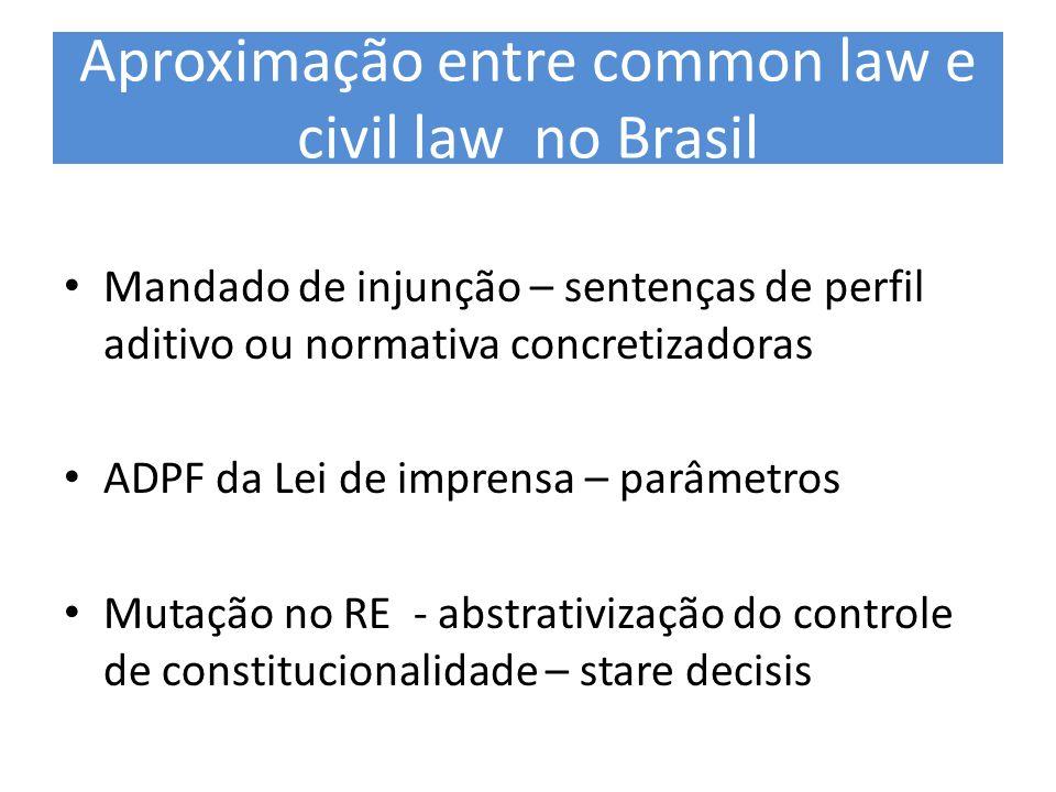 Aproximação entre common law e civil law no Brasil Mandado de injunção – sentenças de perfil aditivo ou normativa concretizadoras ADPF da Lei de impre