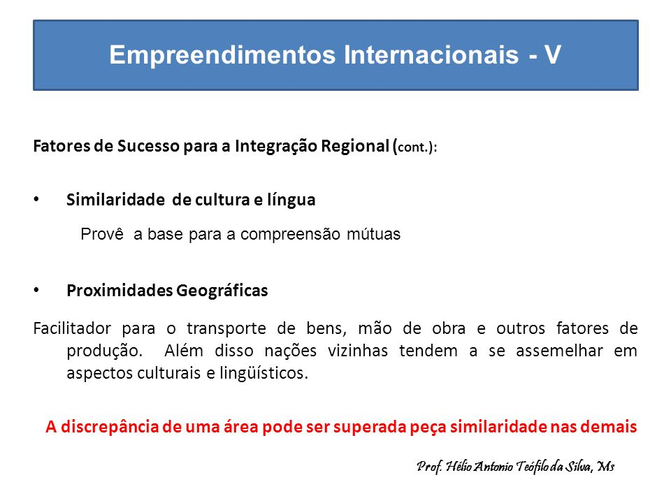 Empreendimentos Internacionais - V Fatores de Sucesso para a Integração Regional ( cont.): Similaridade de cultura e língua Proximidades Geográficas F