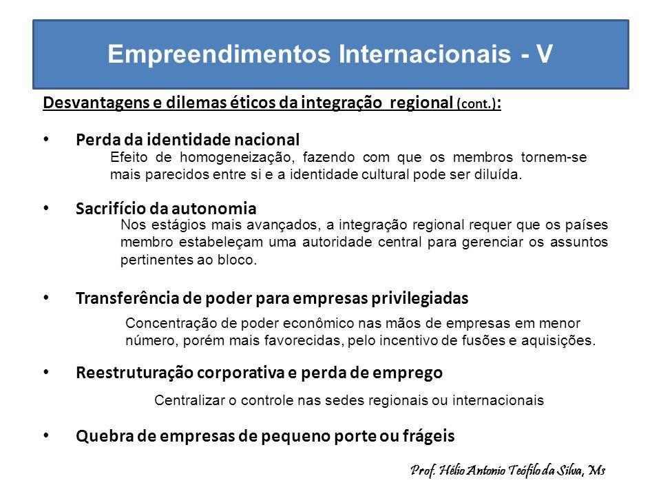 Empreendimentos Internacionais - V Desvantagens e dilemas éticos da integração regional (cont.) : Perda da identidade nacional Sacrifício da autonomia
