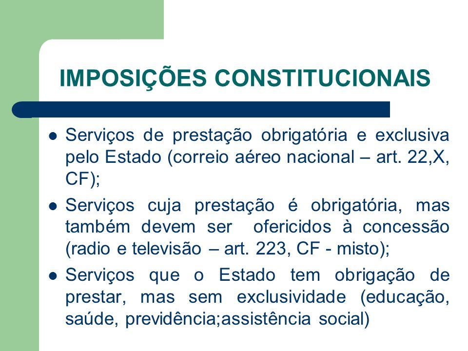 IMPOSIÇÕES CONSTITUCIONAIS Serviços de prestação obrigatória e exclusiva pelo Estado (correio aéreo nacional – art. 22,X, CF); Serviços cuja prestação