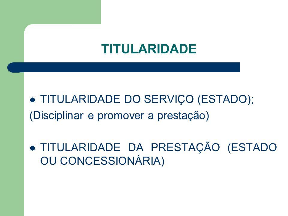 TITULARIDADE TITULARIDADE DO SERVIÇO (ESTADO); (Disciplinar e promover a prestação) TITULARIDADE DA PRESTAÇÃO (ESTADO OU CONCESSIONÁRIA)