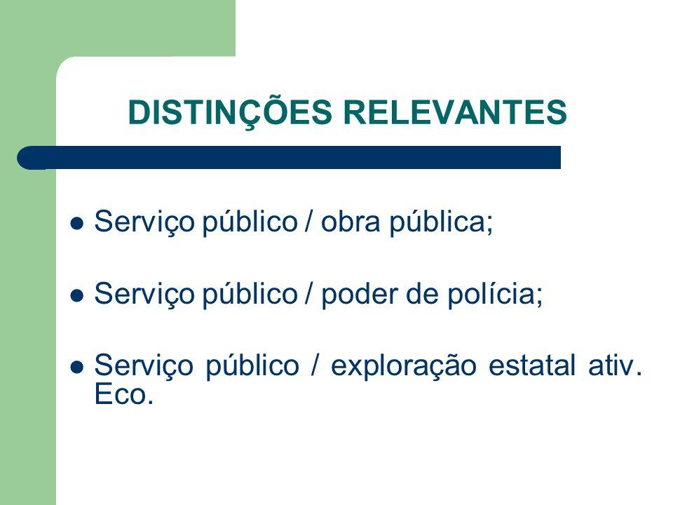 DISTINÇÕES RELEVANTES Serviço público / obra pública; Serviço público / poder de polícia; Serviço público / exploração estatal ativ. Eco.