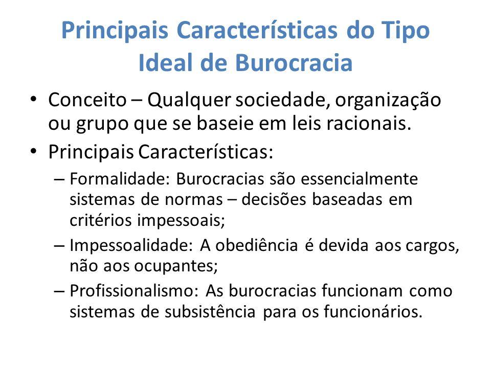 Principais Características do Tipo Ideal de Burocracia Conceito – Qualquer sociedade, organização ou grupo que se baseie em leis racionais. Principais