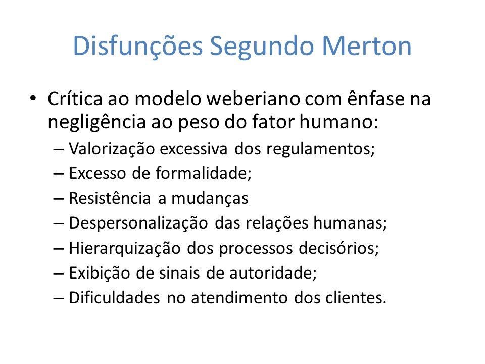 Disfunções Segundo Merton Crítica ao modelo weberiano com ênfase na negligência ao peso do fator humano: – Valorização excessiva dos regulamentos; – E