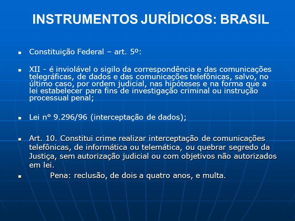 INSTRUMENTOS JURÍDICOS: BRASIL Constituição Federal – art. 5º: XII - é inviolável o sigilo da correspondência e das comunicações telegráficas, de dado