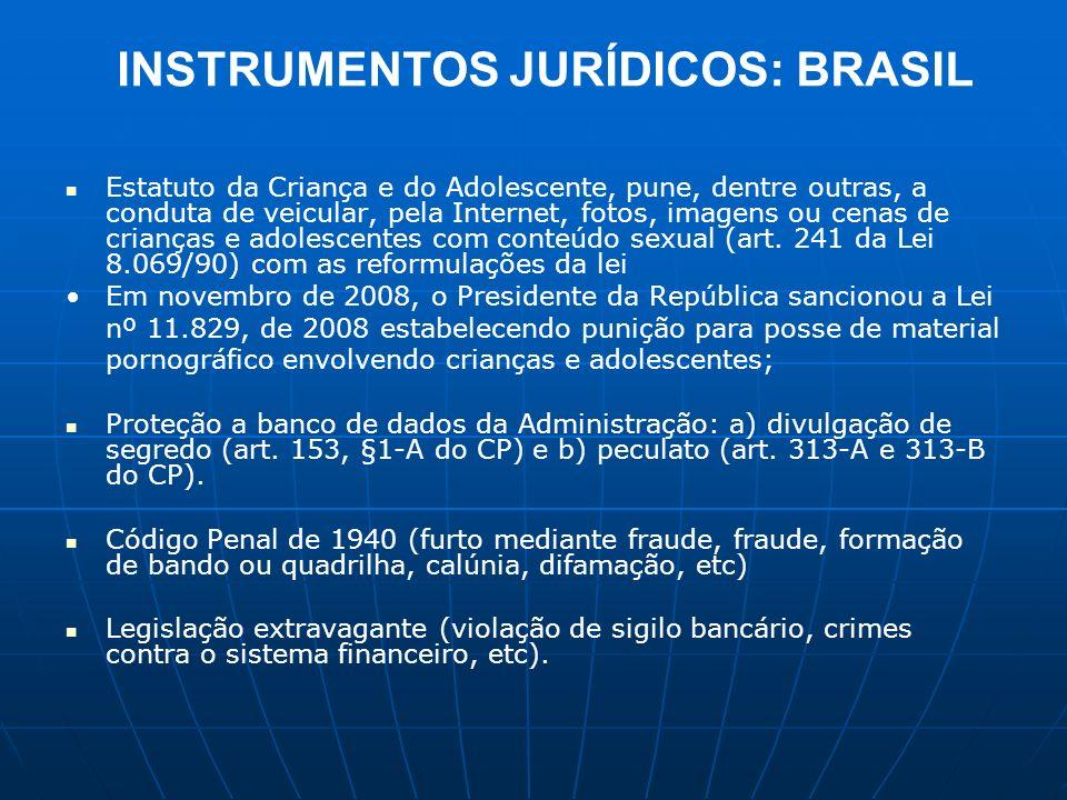 INSTRUMENTOS JURÍDICOS: BRASIL Estatuto da Criança e do Adolescente, pune, dentre outras, a conduta de veicular, pela Internet, fotos, imagens ou cena
