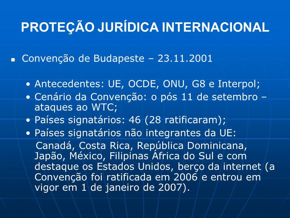 PROTEÇÃO JURÍDICA INTERNACIONAL Convenção de Budapeste – 23.11.2001 Antecedentes: UE, OCDE, ONU, G8 e Interpol; Cenário da Convenção: o pós 11 de sete