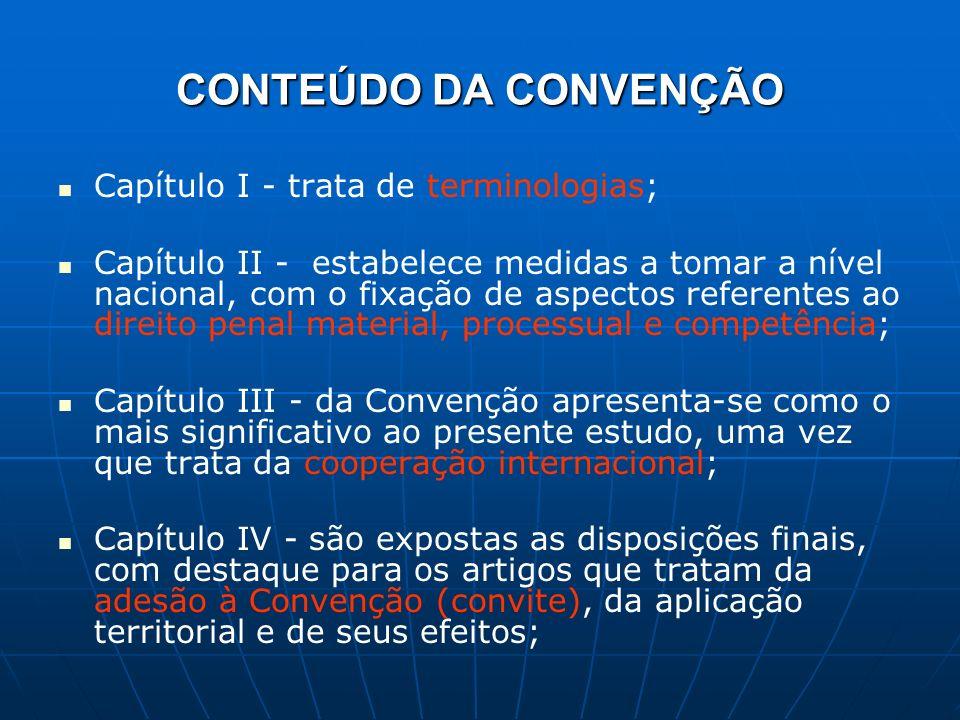 CONTEÚDO DA CONVENÇÃO Capítulo I - trata de terminologias; Capítulo II - estabelece medidas a tomar a nível nacional, com o fixação de aspectos refere