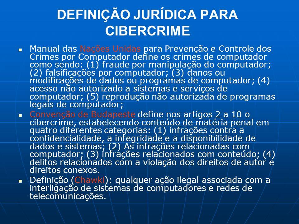 CARACTERÍSTICAS DO CIBERCRIME Categorias: Parker apresenta três categorias de cibercrime: Um computador como o alvo de um crime; O computador é usado como uma ferramenta para a condução de um crime (Roubo, fraude, pornografia infantil) e o computador é acessório para o cometimento do crime.