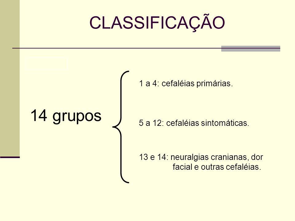 CLASSIFICAÇÃO 14 grupos 1 a 4: cefaléias primárias. 5 a 12: cefaléias sintomáticas. 13 e 14: neuralgias cranianas, dor facial e outras cefaléias.