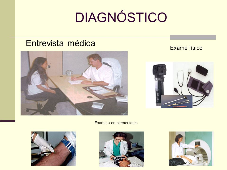 DIAGNÓSTICO Exames complementares Exame físico Entrevista médica