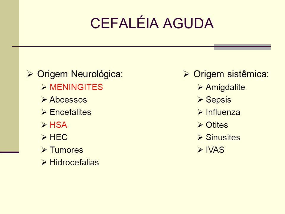 CEFALÉIA AGUDA Origem Neurológica: MENINGITES Abcessos Encefalites HSA HEC Tumores Hidrocefalias Origem sistêmica: Amigdalite Sepsis Influenza Otites