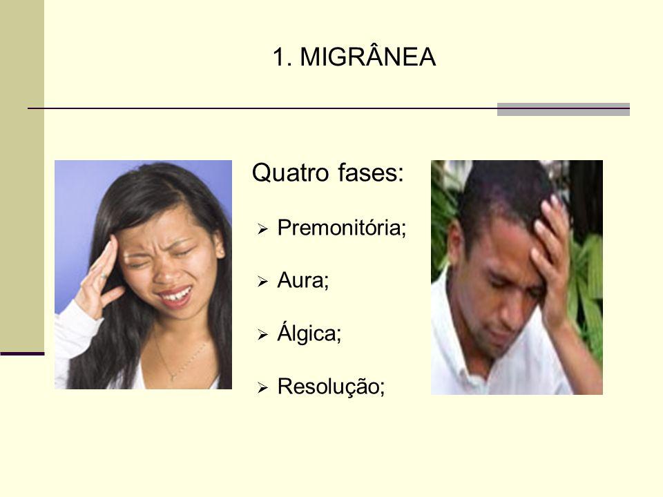 1. MIGRÂNEA Quatro fases: Premonitória; Aura; Álgica; Resolução;