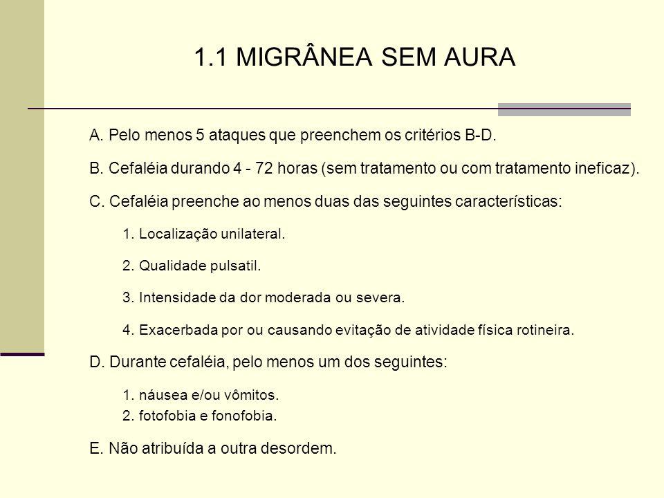 1.1 MIGRÂNEA SEM AURA A. Pelo menos 5 ataques que preenchem os critérios B-D. B. Cefaléia durando 4 - 72 horas (sem tratamento ou com tratamento inefi