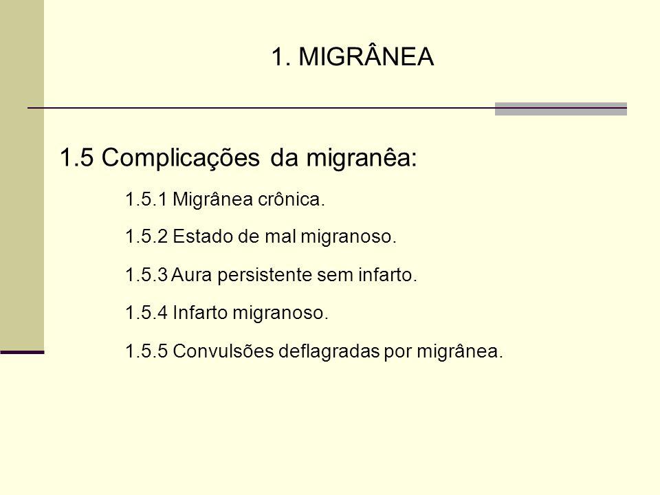 1. MIGRÂNEA 1.5 Complicações da migranêa: 1.5.1 Migrânea crônica. 1.5.2 Estado de mal migranoso. 1.5.3 Aura persistente sem infarto. 1.5.4 Infarto mig