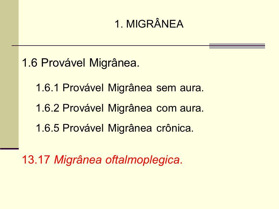 1. MIGRÂNEA 1.6 Provável Migrânea. 1.6.1 Provável Migrânea sem aura. 1.6.2 Provável Migrânea com aura. 1.6.5 Provável Migrânea crônica. 13.17 Migrânea