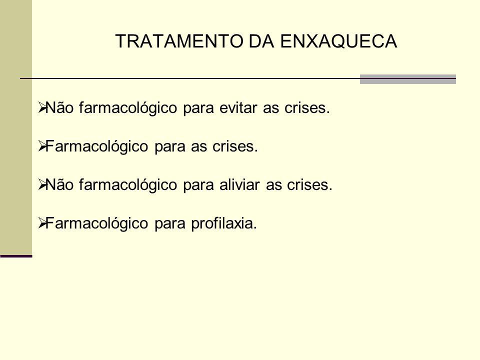 TRATAMENTO DA ENXAQUECA Não farmacológico para evitar as crises. Farmacológico para as crises. Não farmacológico para aliviar as crises. Farmacológico