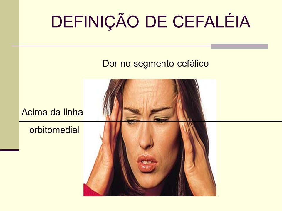 DEFINIÇÃO DE CEFALÉIA Dor no segmento cefálico orbitomedial Acima da linha