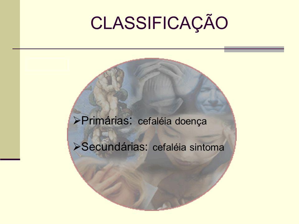 CLASSIFICAÇÃO Primárias : cefaléia doença Secundárias: cefaléia sintoma