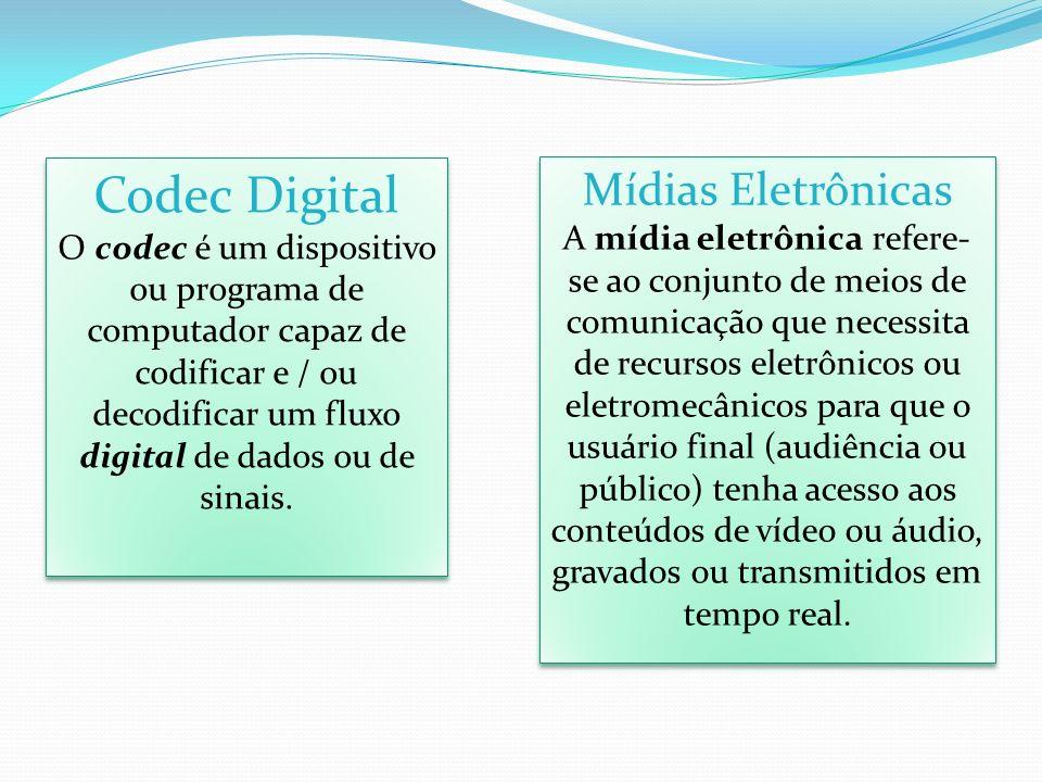 Codec Digital O codec é um dispositivo ou programa de computador capaz de codificar e / ou decodificar um fluxo digital de dados ou de sinais. Codec D