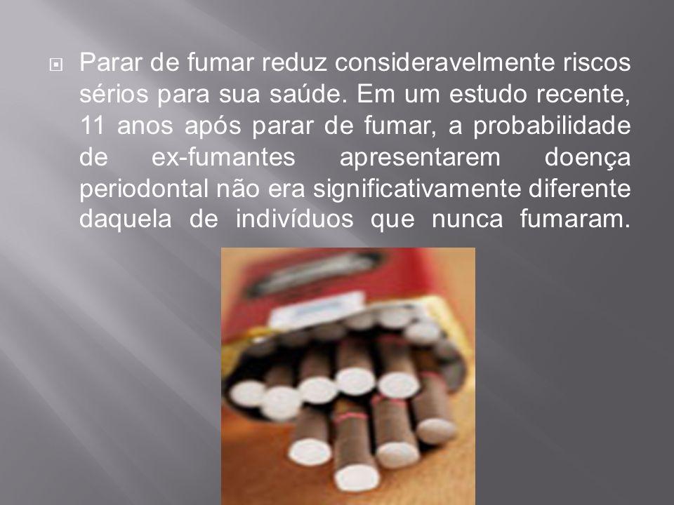 Parar de fumar reduz consideravelmente riscos sérios para sua saúde. Em um estudo recente, 11 anos após parar de fumar, a probabilidade de ex-fumantes