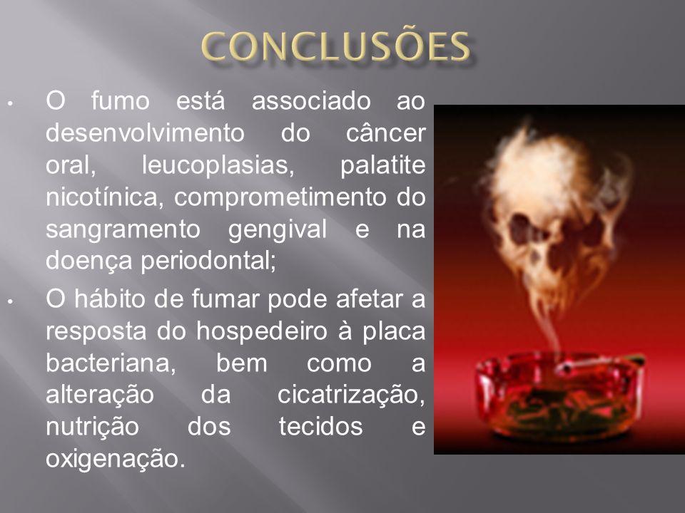 O fumo está associado ao desenvolvimento do câncer oral, leucoplasias, palatite nicotínica, comprometimento do sangramento gengival e na doença period