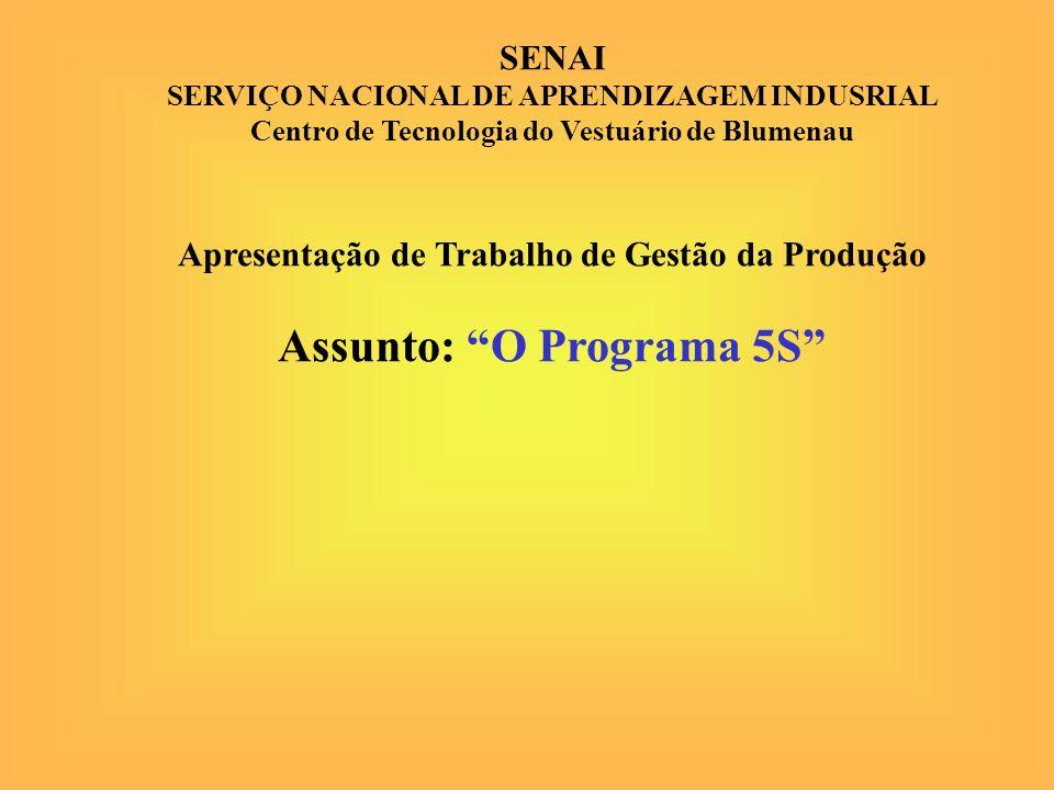 SENAI SERVIÇO NACIONAL DE APRENDIZAGEM INDUSRIAL Centro de Tecnologia do Vestuário de Blumenau Apresentação de Trabalho de Gestão da Produção Assunto: O Programa 5S