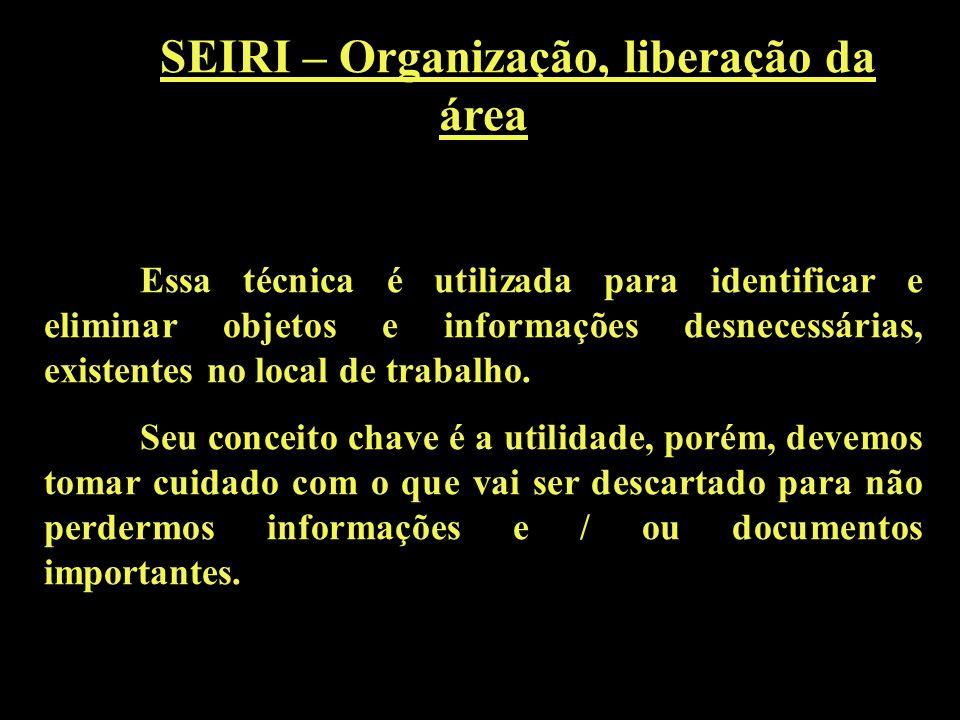 SEIRI – Organização, liberação da área Essa técnica é utilizada para identificar e eliminar objetos e informações desnecessárias, existentes no local de trabalho.