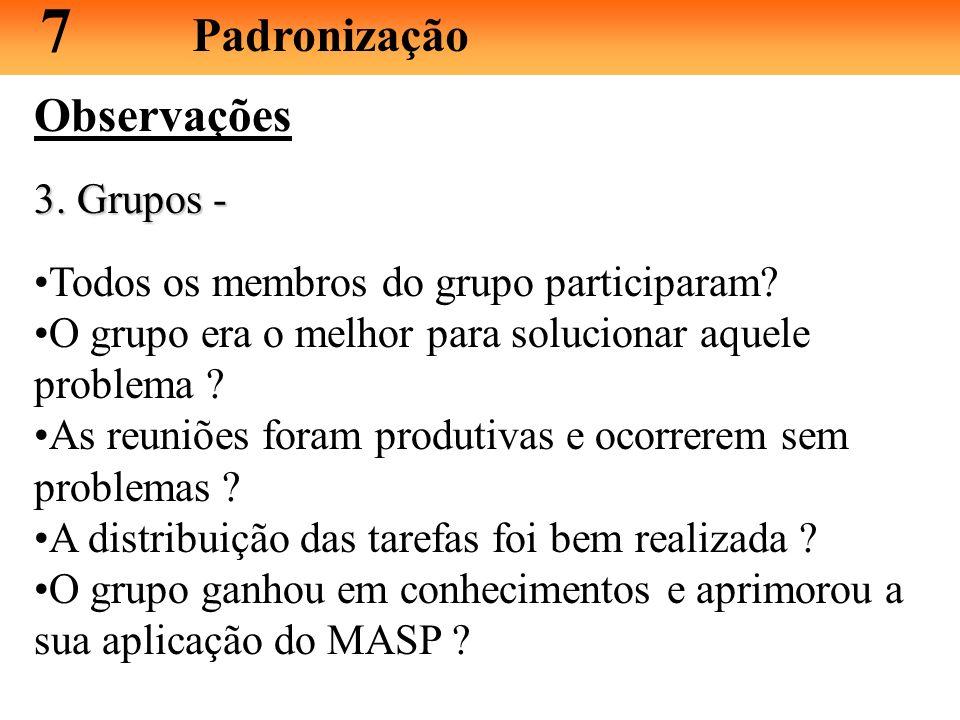 Observações Analise as etapas executadas do MASP nos seguintes aspectos: 1. Cronograma 1. Cronograma - houve atrasos significativos ou prazos folgados