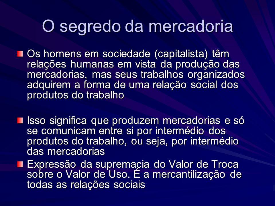 O segredo da mercadoria Os homens em sociedade (capitalista) têm relações humanas em vista da produção das mercadorias, mas seus trabalhos organizados
