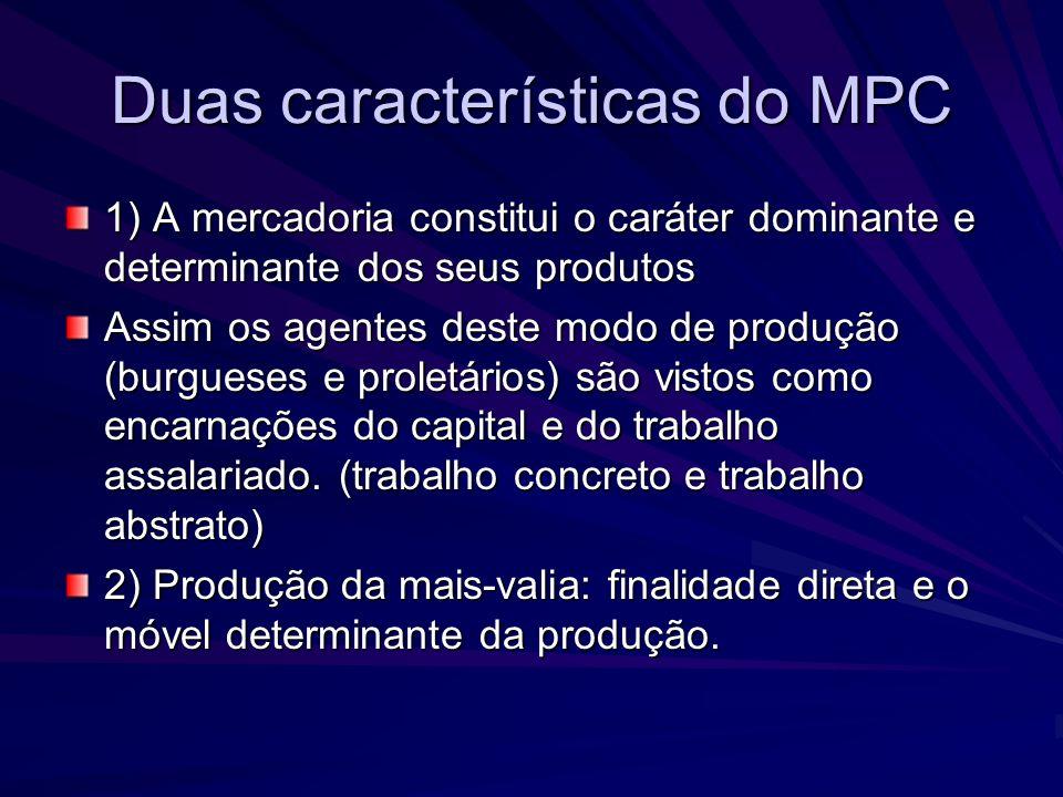 Duas características do MPC 1) A mercadoria constitui o caráter dominante e determinante dos seus produtos Assim os agentes deste modo de produção (bu
