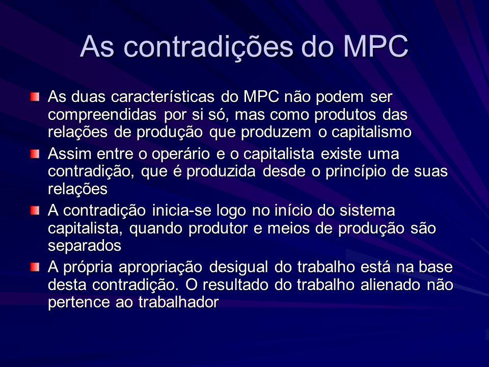 As contradições do MPC As duas características do MPC não podem ser compreendidas por si só, mas como produtos das relações de produção que produzem o