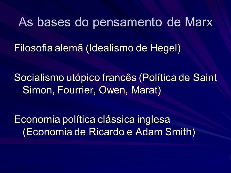 As bases do pensamento de Marx Filosofia alemã (Idealismo de Hegel) Socialismo utópico francês (Política de Saint Simon, Fourrier, Owen, Marat) Econom