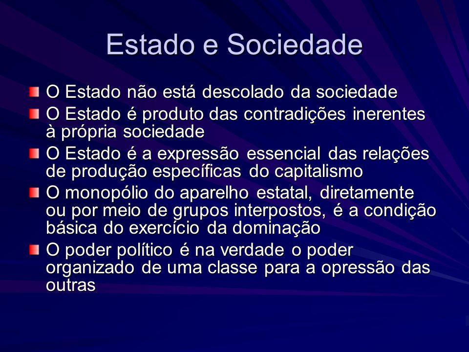 Estado e Sociedade O Estado não está descolado da sociedade O Estado é produto das contradições inerentes à própria sociedade O Estado é a expressão e