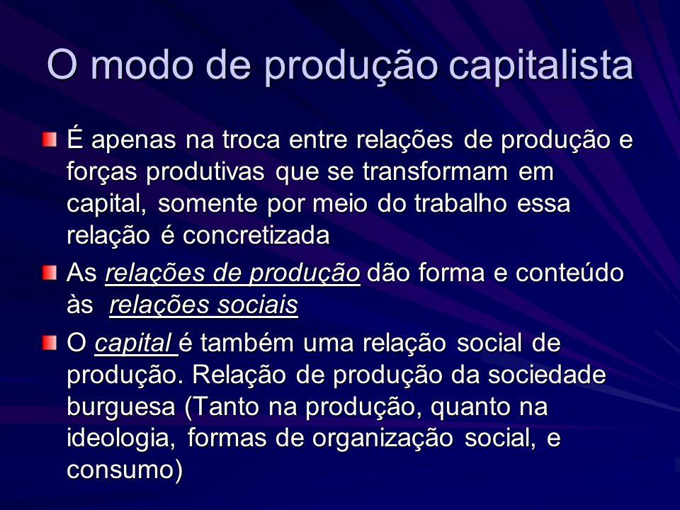 O capital como relação social de produção O capital não se constitui somente como meio de subsistência (valor de uso), de instrumento de trabalho e de matéria prima Forma o chamado valor de troca, em que todos os produtos de que ele se constitui são mercadorias