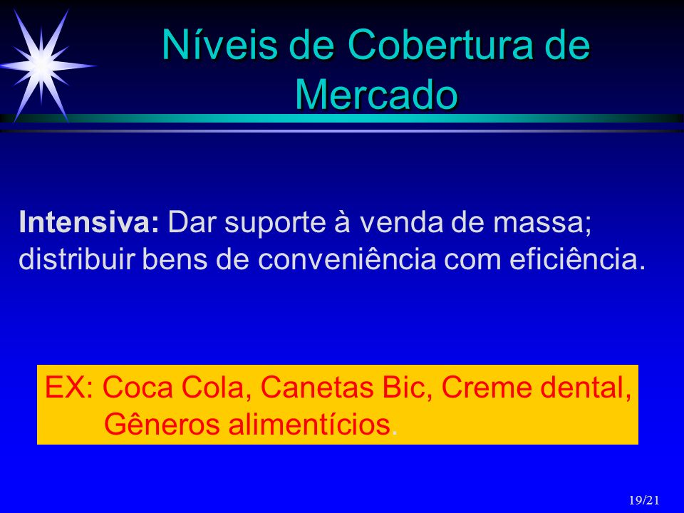 Níveis de Cobertura de Mercado Intensiva: Dar suporte à venda de massa; distribuir bens de conveniência com eficiência. EX: Coca Cola, Canetas Bic, Cr