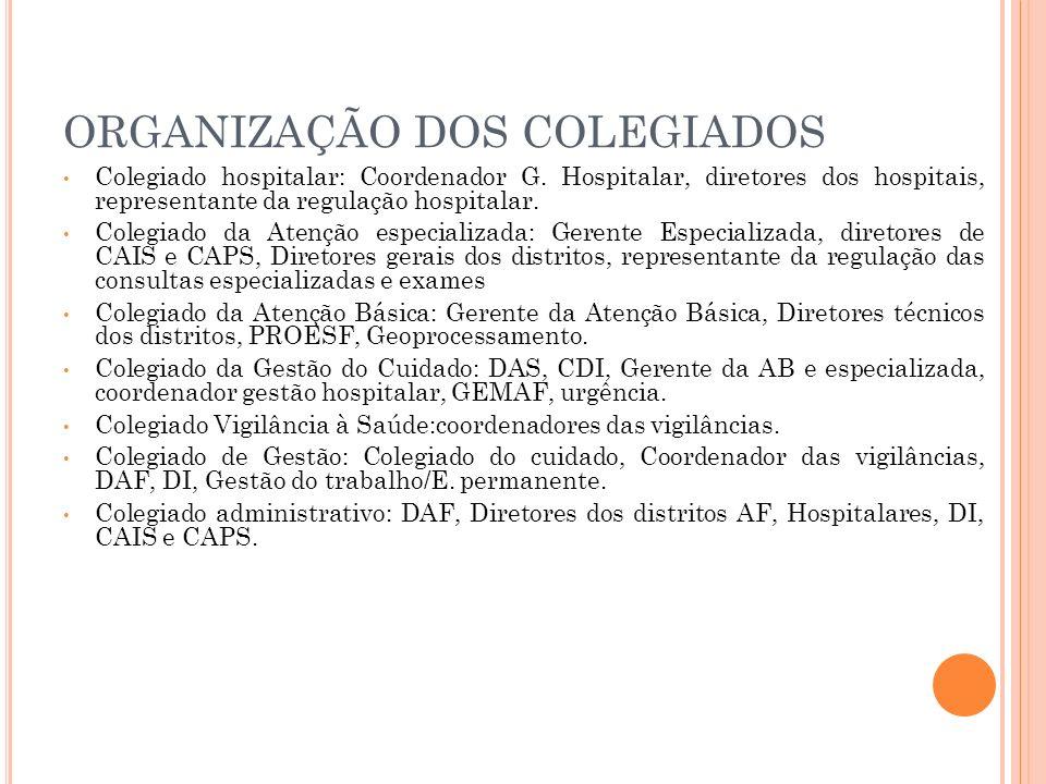 ORGANIZAÇÃO DOS COLEGIADOS Colegiado hospitalar: Coordenador G. Hospitalar, diretores dos hospitais, representante da regulação hospitalar. Colegiado