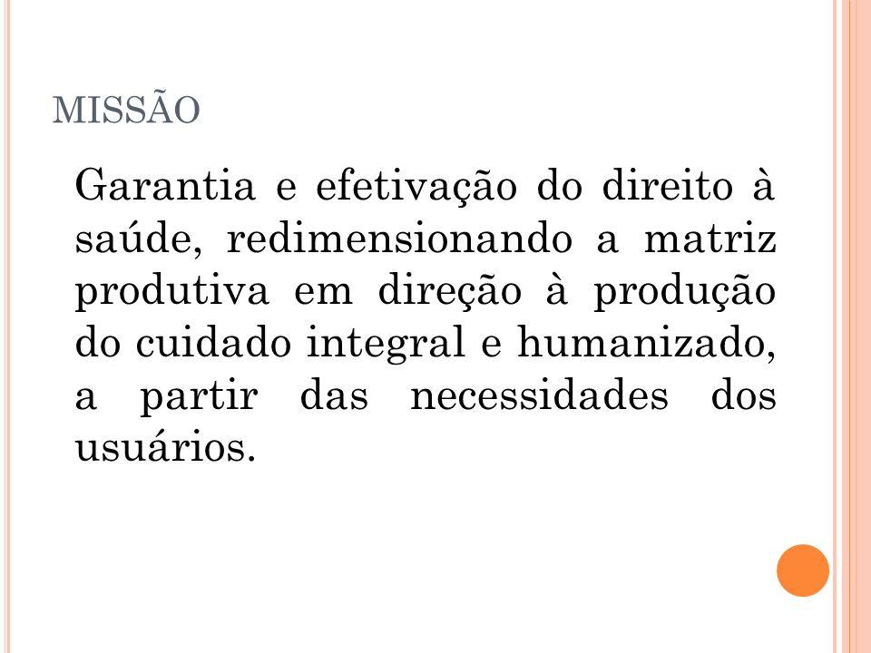 MISSÃO Garantia e efetivação do direito à saúde, redimensionando a matriz produtiva em direção à produção do cuidado integral e humanizado, a partir d