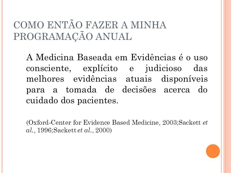 A Medicina Baseada em Evidências é o uso consciente, explícito e judicioso das melhores evidências atuais disponíveis para a tomada de decisões acerca