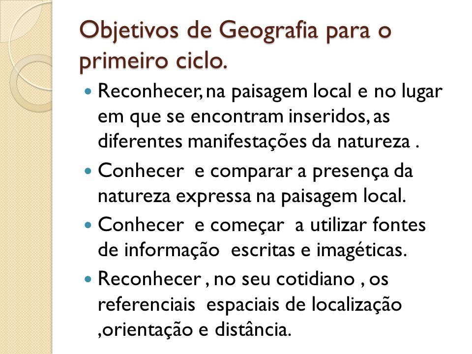 Objetivos de Geografia para o primeiro ciclo. Reconhecer, na paisagem local e no lugar em que se encontram inseridos, as diferentes manifestações da n
