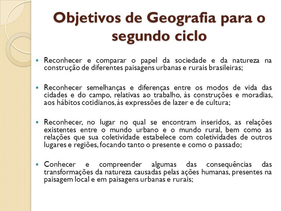 Objetivos de Geografia para o segundo ciclo Reconhecer e comparar o papel da sociedade e da natureza na construção de diferentes paisagens urbanas e r