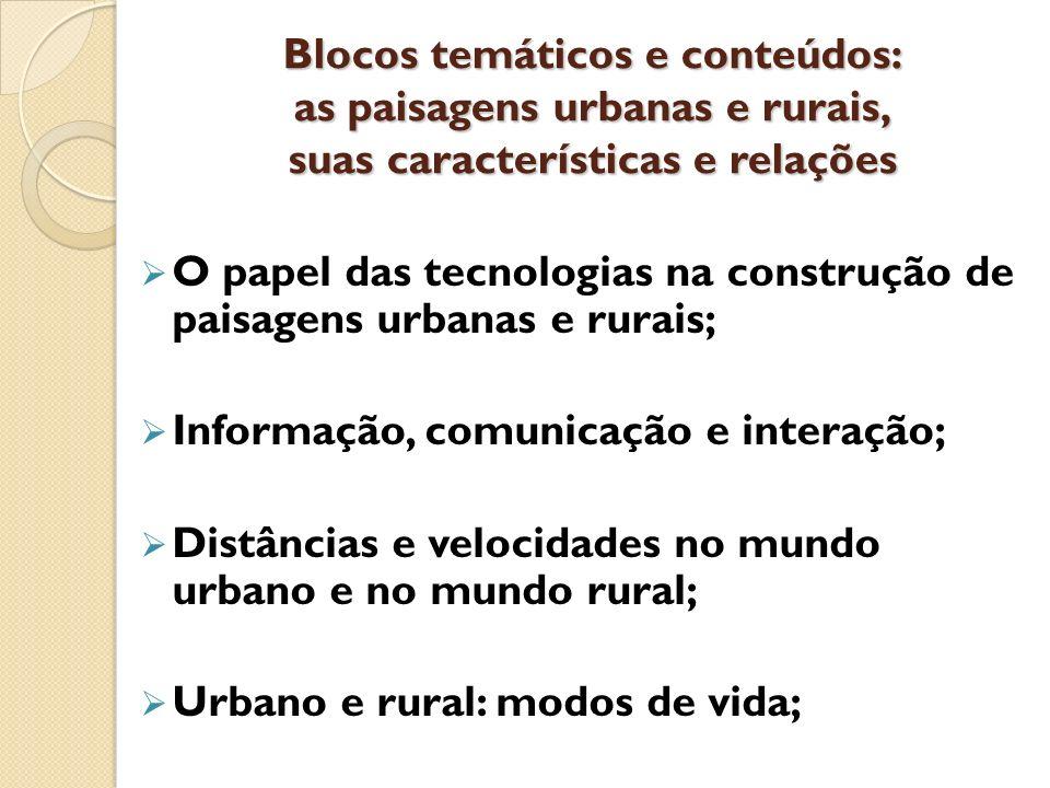 Blocos temáticos e conteúdos: as paisagens urbanas e rurais, suas características e relações O papel das tecnologias na construção de paisagens urbana